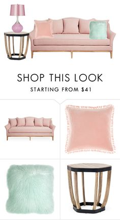 """cute pink couch set"" by kawiicreations ❤ liked on Polyvore featuring interior, interiors, interior design, home, home decor, interior decorating, Linen House, Pillow Decor and Ethimo"