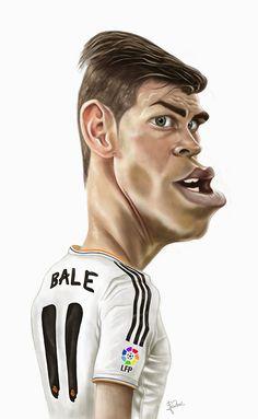 Gareth Bale by Fredson Cartoon Faces, Funny Faces, Cartoon Art, Cartoon Characters, Funny Caricatures, Celebrity Caricatures, Gareth Bale, Realistic Cartoons, Soccer Art