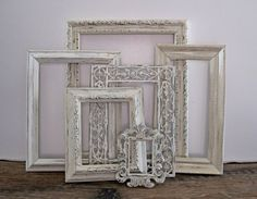 White Shabby Chic Frames -- exactly what I need at a smaller size (5x8) for Viv's #nursery