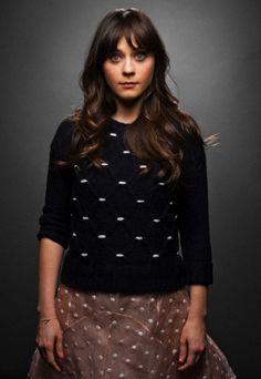 Zooey Deschanel's Black Sweater Photoshoot.  Outfit Details: http://wwzdw.com/z/396/ #WWZDW