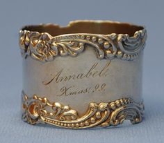 Mark the birth of a child or grandchild by engraving an antique napkin ring!