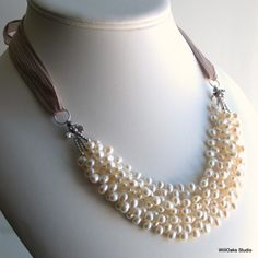 Pearls Bib Necklace with Silk Ribbon - this was the inspiration for the necklace I made for myself for my wedding!