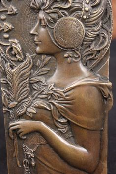 Signed Art Nouveau Roman Girl Bas Relief Bronze Sculpture Figure Statue Figurine | eBay