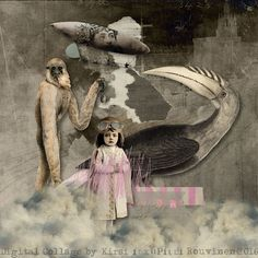 """""""Bird"""" digital collage by Kirsi Rouvinen #mixed #media"""