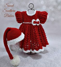 Baby Girl's Red & White Christmas Dress by SweetSouthernBabies