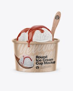 Kraft Ice Cream Cup Mockup – Front View (High-Angle Shot)