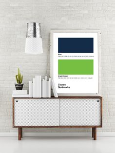 Seattle Seahawks Pantone Poster - NFL Man Cave Seahawk - Print, Boyfriend Gift, Fathers Day Gift - College Student Gift