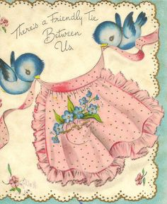 Sweet, vintage bluebird greeting card.