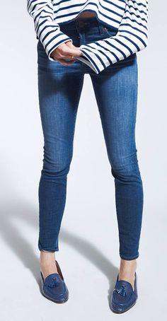 skinny jeans; blue leather loafers with tassels; striped tee; ultra casual; basics
