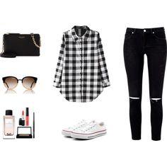 Plaid shirt by cristina212 on Polyvore featuring moda, Converse, Henri Bendel, Tory Burch, MAC Cosmetics and Dolce&Gabbana