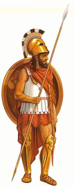 by Connolly History / Antiquity / Sparta: - Spartan hoplite BC), dressed with a Corinthian helmet, armour and greaves, armed with spear, sword and shield. Watercolour by Peter Connolly (born Greek History, Roman History, Ancient History, Ancient Sparta, Greco Persian Wars, Corinthian Helmet, Greek Soldier, Classical Greece, Greek Warrior