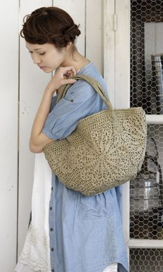 Crochet bag with doilies. Free pattern - diagram/Japanese