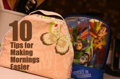 10 tips for making mornings easier - a post for all parents to read. So many helpful tips. #parenting #organization