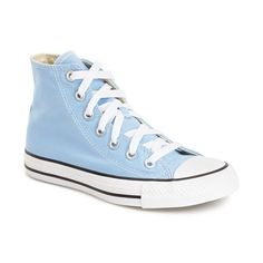 Converse Chuck Taylor All Star High Top Sneaker ($60) ❤ liked on Polyvore featuring shoes, sneakers, converse, blue sky canvas, converse high tops, high top shoes, blue canvas sneakers, canvas lace up sneakers and blue high tops