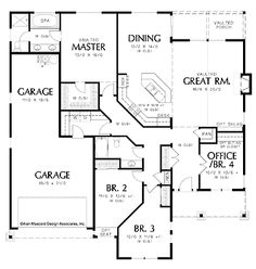 Single story open floor plans one story 3 bedroom 2 for French house plans 2000 square feet