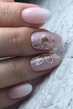 80 Wedding Natural Gel Nails Design Ideas for Bride in 2019 - Styles Art Nail Art Designs, Bridal Nails Designs, Bridal Nail Art, Natural Nail Designs, Simple Nail Designs, Sophisticated Nails, Natural Gel Nails, Bride Nails, Flower Nails