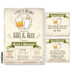 Beer BBQ Baby Shower Invitation, A Baby Is Brewing Invitation, Coed Baby Shower Invitations, Girl Baby Shower, Boy Baby Shower, Babyq BS311 by 800Canvas on Etsy