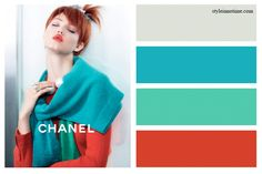 Most of designer brands bedazzled this season with bold bright colors. Chanel is no exception shying away from black & white ads and bursting with pops of reds, blues and greens. These 2 color palettes are for the ones who accept the dare and are willing illuminate their spaces with pure vibrancy and optimism. Color matches (from top to bottom): Pearl Gray, Cool Aqua, St Patty's Day, Tomato Red. All from Benjamin Moore paints.