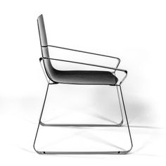 The side view presents the essential design of the hexagonal profile of this chair.
