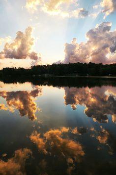 Landscape Lake Sunset Clouds Reflection