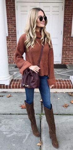 #winter #outfits brown sweater with blue denim jeans and brown leather boots