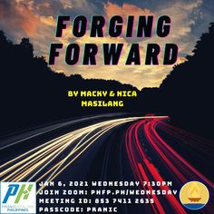 🌈 Open to all ⏰ January 6, 2021 Wednesday (7:30 pm - 9:00 pm) 🌞 Enrichment Talk on : Forging Forward ❤️ by Macky & Nica Masilang Husband & Wife, Entrepreneurs & Business Owners, Health & Wellness Advocates, Arhatic Yoga Practitioners & Pranic Healers ✅ Join Zoom Meeting: phfp.ph/wednesday Meeting ID: 853 7411 2635 Passcode: pranic For inquiries: 09178527434 pranichealingphilippines@gmail.com