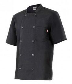 Chaqueta de cocinero, ligera y de fácil lavado, disponibles en blanco y negro, cierre cruzado, con botones, poliéster y algodón. http://www.grupotextil-bataspersonalizadas.net/chaquetas/53-chaqueta-cocinera-manga-corta-serie-432.html
