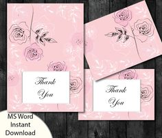 Printable Thank you Card Template | Memorial Thank You| Wedding | Funeral | Editable Text MS Word | Pink Roses by PrettyDigiDesigns on Etsy