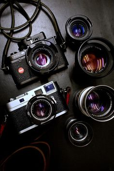 Leica and and lenses Antique Cameras, Old Cameras, Vintage Cameras, Camera Hacks, Camera Gear, Camera Crafts, Camera Wallpaper, Camera Drawing, Latest Camera