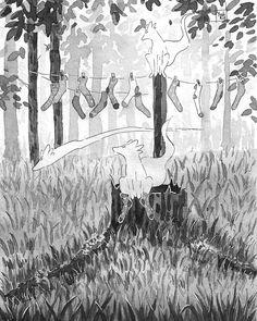 "Yosh Kin 🍃 on Instagram: ""22. Носки #inktober #spookyncozy #ink #traditional #fox #рисуюанесплюinktober"" Halloween Illustration, Illustration, Painting, Spooky, Art, Whimsical"