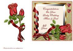 Roses Ribbons Ruby Wedding Mum Dad on Craftsuprint - Add To Basket!