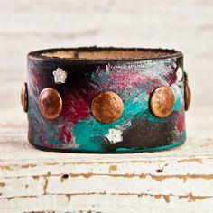 Gypsy Bracelet Cuff Leather Jewelry Bohemain OOAK by rainwheel, $53.00