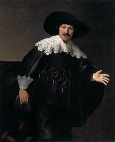 Rembrandt (Netherlands, 1606-1669) ~ Portrait of a Man Rising from His Chair (1633) ~ Rembrandt Harmenszoon van Rijn was a Dutch painter and etcher. He is generally considered one of the greatest painters and printmakers in European art and the most important in Dutch history ~ Taft Museum, Cincinnati