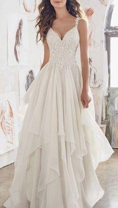Double shoulder with lace chiffon wedding dress #weddingdress