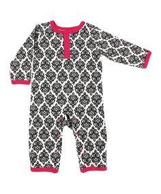 Black & Pink Damask Playsuit - Infant