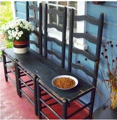 repurposed chairs with no seat, made into a bench. Love this idea!