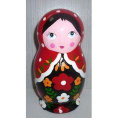 Money Box red scarf black dress medium   #russiandoll #matryoshka #dollsindolls #decor #traditional #kids #toys #handmade