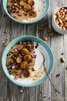 Whipped Almond Butter Oatmeal with Caramelized Bananas is an easy and delicious way to start your day. It is also a 100% vegan breakfast. You're going to LOVE it! | theendlessmeal.com