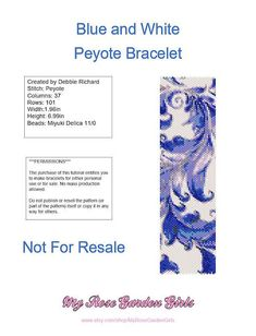 This Peyote Beaded Bracelet Pattern is a Delica bead pattern designed to be created with Delica beads. The finished size is 7 x 2 inches. The pattern includes a preview of the beaded design, a shopping list of beads needed to complete the project, and the step-by-step peyote