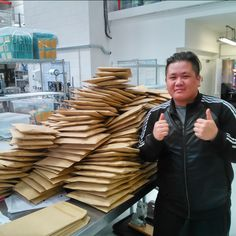 Lots and lots of orders to pack! Tung for scale...