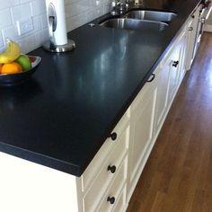 absolute black honed granite in kitchen
