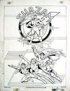 """Shazam"" - Captain Marvel Family by Jose Luis Garcia-Lopez Comic Book Artists, Comic Artist, Comic Books Art, Superman, Batman, Captain Marvel Jr, Garcia Lopez, Drawing Superheroes, Bristol Board"
