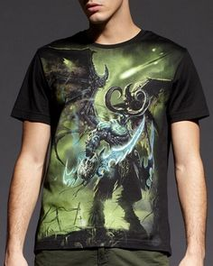 Illidan Stormrage World of Warcraft t shirt for men WOW black tee short sleeve-
