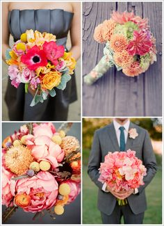 the gray dresses, and beautiful flowers!