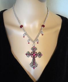 Red Crystal Metal Cross Charm Necklace – Robin Harley offers FREE SHIPPING in the U.S. and Canada