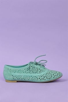 Cut-Out Oxford Flats - Minty Goodness