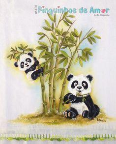 Um blog sobre bonecas e bichos de pano, lembrancinhas, porta-maternidade, nichos, bolsas jeans com aplicação 3D. Easy Drawings For Kids, Cute Little Drawings, Animal Paintings, Animal Drawings, Panda Painting, Panda Art, Tree Canvas, Bear Wallpaper, Cute Panda