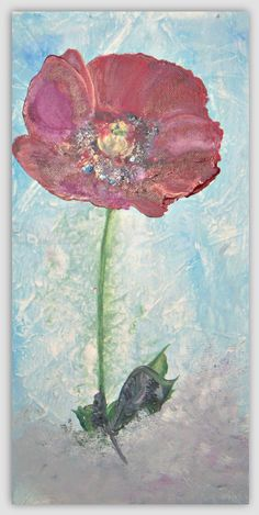 Red Poppy Floral Acrylic Painting on Canvas 8x16x1 by sherischart