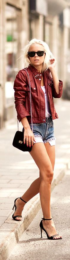 ✿~SEX AND THE CITY 2 `✿⊱╮  *Summer Street Chic, Street Fashion - red leather jacket and cut off jean shorts