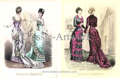 1800-tals mode, klänningar. Nytryck, till salu. € . High resolution, new print. Victorian fashion plates, ruffles galore! Here depicted in pink, purple and mint green.
